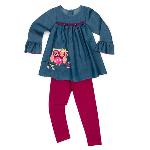Good Lad Fall Chambray Owl Set