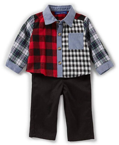 Matt's Scooter Plaid Flannel Shirt and Pants Set