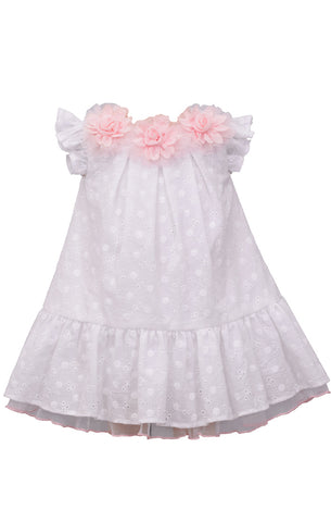 Bonnie Jean Spring Easter White Eyelet Flutter Dress