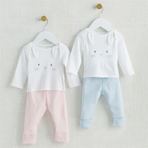 Mud Pie Pink or Blue Bunny 2pc Set