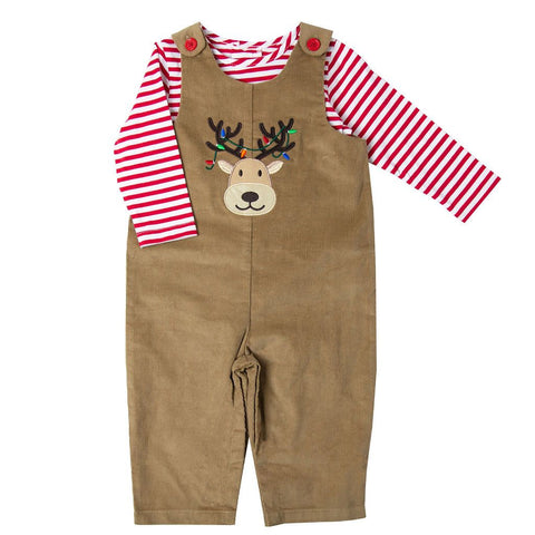Good Lad Christmas Reindeer Corduroy Overall Set