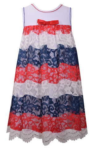 Bonnie Jean Lace 4th or July Patriotic Americana Dress