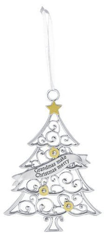 Ganz Grandmas Make Christmas Merry Silver Tree Ornament