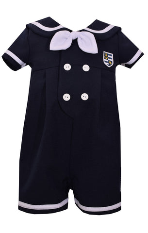 Matt's Scooter Navy Nautical One Piece Romper