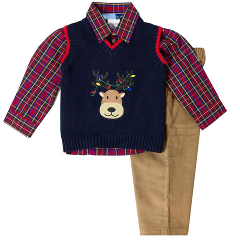 Good Lad Navy Plaid Holiday Reindeer Sweater Set