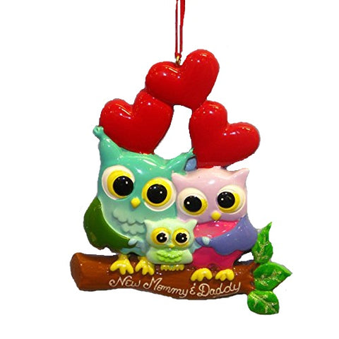 Kurt Adler New Mommy and Daddy Owl First Christmas Ornament