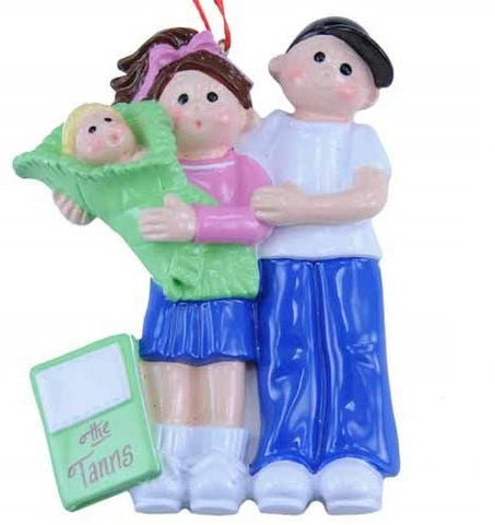 New Mommy or Mommy and Daddy with Baby Ornament