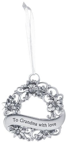 Ganz To Grandma with Love Silver Christmas Wreath Ornament