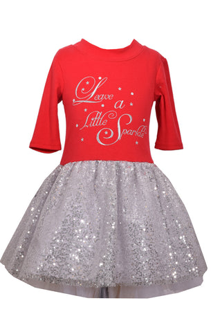 Bonnie Jean Leave A Little Sparkle Holiday Sequin Tutu Dress