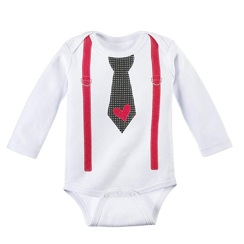 Baby Ganz First Valentine's Day One Piece with Necktie and Suspender