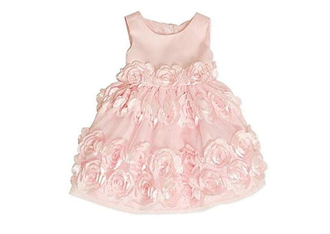Bonnie Jean Pink Rosette Special Occasion Spring Dress