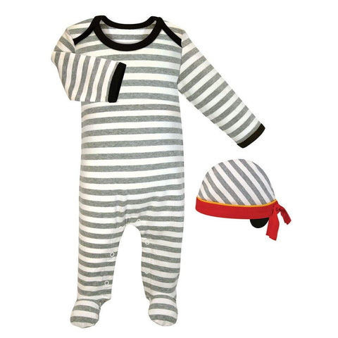 Stephan Baby Newborn Striped Pirate Romper and Cap