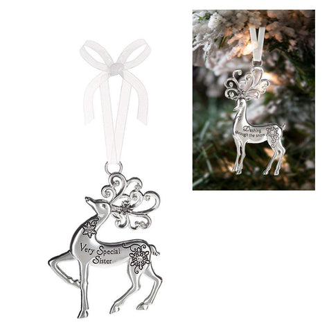 Ganz Family Silver Reindeer Christmas Ornaments