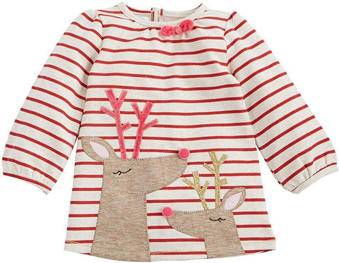 Mud Pie Red Striped Reindeer Dress