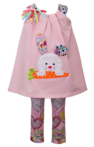 Bonnie Jean Sleeveless Easter Bunny Set with Heart Leggings