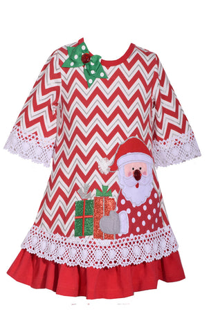 Bonnie Jean Red Chevron Santa Christmas Dress
