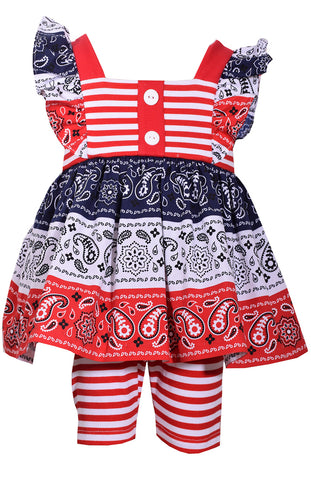 Bonnie Jean Red, White and Blue Bandana Print Americana Shorts Set