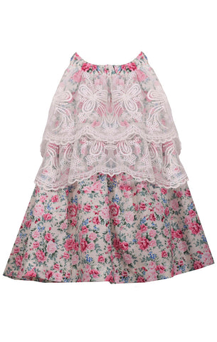 Bonnie Jean Vintage Rose Floral Dress with Lace