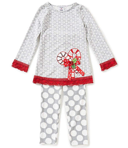 Counting Daisies Grey Candy Cane Leggings Set