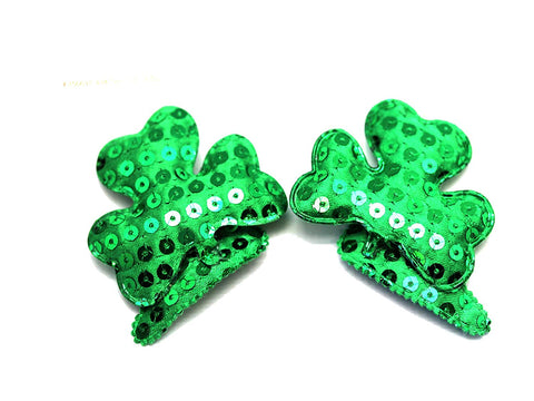 Sequined Shamrock Barrettes