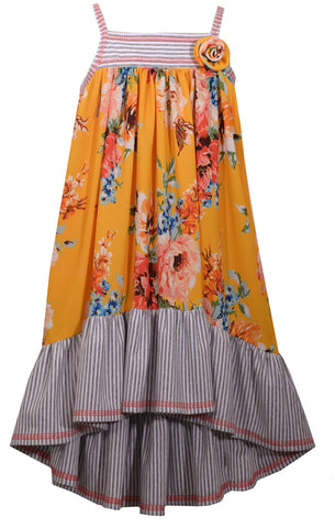 Bonnie Jean Yellow and Grey Floral Sundress