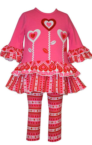 Bonnie Jean 3 Heart Valentine's Day Tunic and Leggings