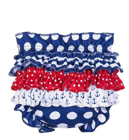 Baby Ganz Nautical 4th of July Ruffled Diaper Cover
