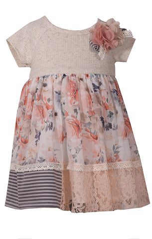 Bonnie Jean Oatmeal and Peach Fall Chiffon Dress