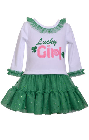 Bonnie Jean Lucky Girl St. Patrick's Day Shamrock Tutu Dress