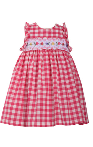 Bonnie Jean Fuchsia Gingham Checked Dress with Floral Smocking
