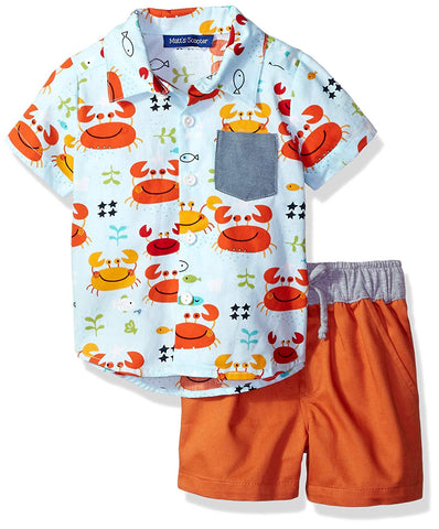Matt's Scooter Orange Summer Crab Shorts Set