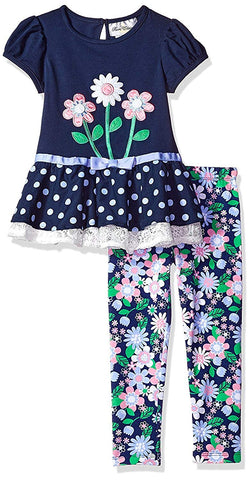 Rare Editions Navy Floral Leggings Set