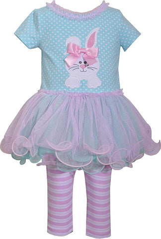 Bonnie Jean Lilac and Turquoise Easter Bunny Tutu Set
