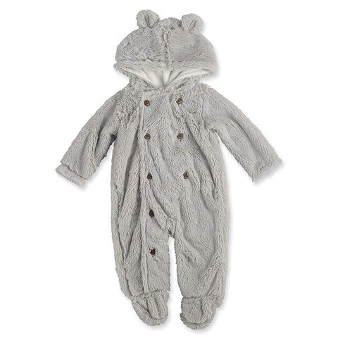 Mud Pie Grey Bear One Piece Hooded Outift
