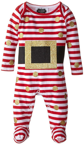 Mud Pie Unisex Glitter Santa Sleep and Play Romper