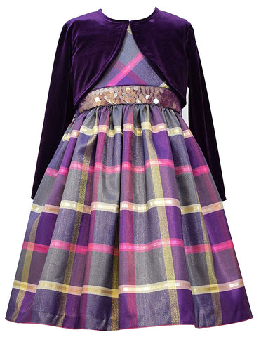 Bonnie Jean Purple Taffeta Dress with Shrug