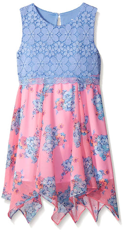 Rare Editions Pink and Periwinkle Floral Chiffon Dress
