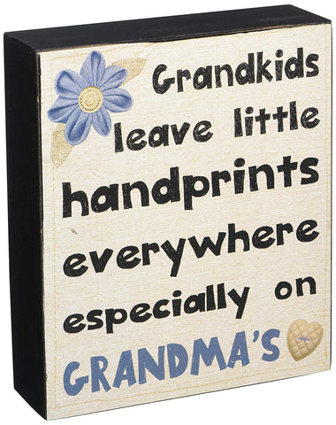 Blossom Bucket Grankids Leave Handprints Everywhere Wall Box sign