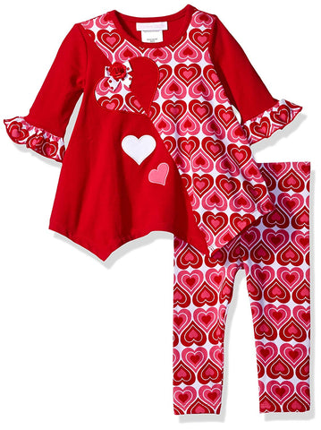 Bonnie Jean Valentine's Day Red Heart Tunic and Leggings