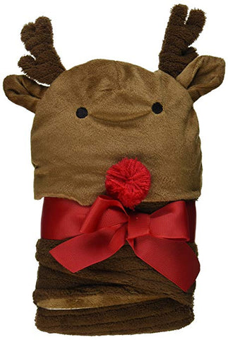 Mud Pie Reindeer Baby Swaddle Black and Hat