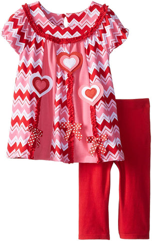 Bonnie Jean Chevron Heart Valentine's Day Legging Set