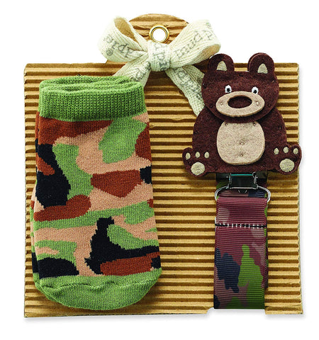 Mud Pie Hunting Bear Pacy Clip and Camo Socks