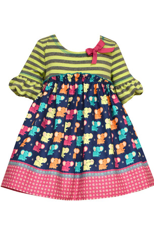 Bonnie Jean Poplin Elephant Dress Set