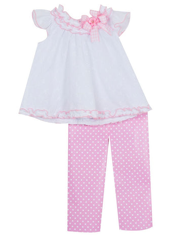 Rare Editions Pink and White Eyelet Set