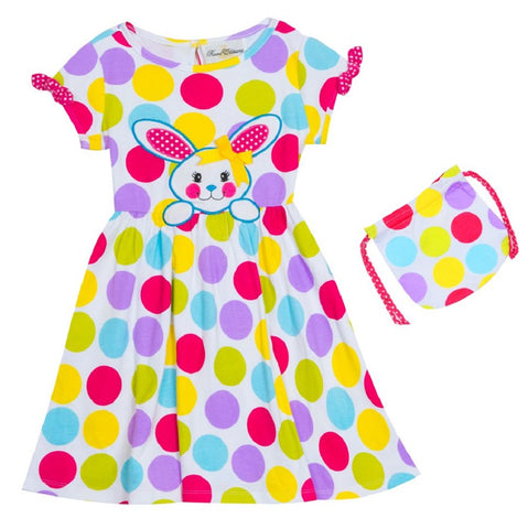 Rare Editions Polka Dot Easter Bunny Dress with Purse