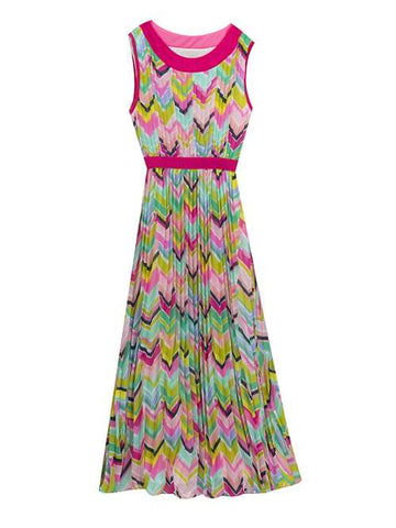 Rare Editions Pleated Pastel Maxi Dress Chevron Print