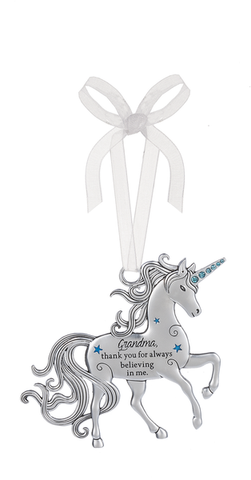 Ganz Grandma Thank you for Believing Unicorn Ornament