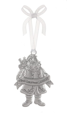 Ganz Family Merry Christmas Silver Santa Ornaments