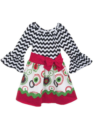 Rare Editions Chevron Holiday Print Dress