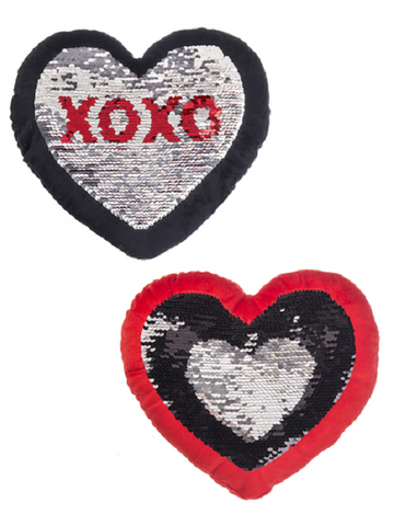 Ganz Reversible Sequin Heart Pillows